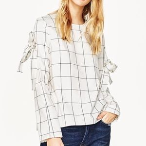 Zara | Windowpane Tie Bow Sleeve Blouse
